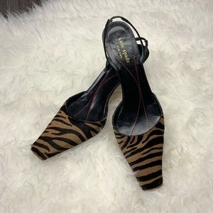 VINTAGE Kate Spade square toe animal print heels